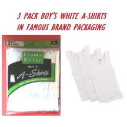 48 Bulk Fruit LooM-HaneS-GildaN-Boy 3pk White A-Shirts In Famous Brand pk