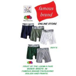 48 Bulk Fruit Loom - Hanes 3pk Boy's Boxer Briefs In Famous Brand Packaging