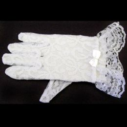 120 Bulk White Lace Gloves For Toddlers