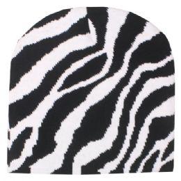36 Bulk Zebra Printed Beanie Hat
