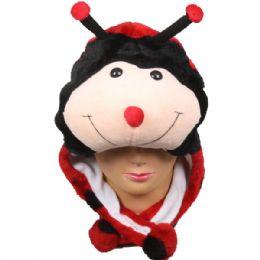 36 Bulk Cute Plush Ladybug Animal Character Earmuff Hat