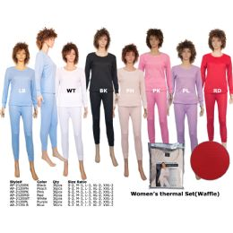 36 Bulk Woman S Winter Thermal Set (waffle) By Color