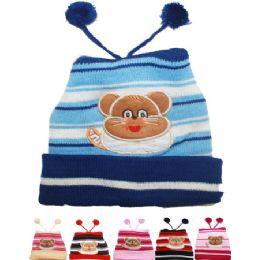 71 Bulk Kids Winter Hat With Bear - Top Poms