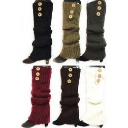 24 Bulk Knitted Long Boot Toppers Leg Warmers 3 Buttons