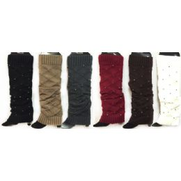 24 Bulk Knitted Boot Toppers Leg Warmers With Rhinestones