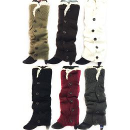 24 Bulk Long Knitted Boottopper Leg Warmers Lace Trim