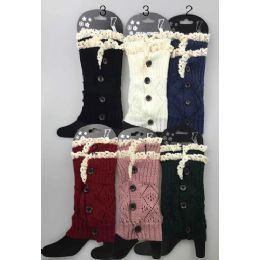 24 Bulk Short Boot Topper Leg Warmer With Lace Trim And Buttons