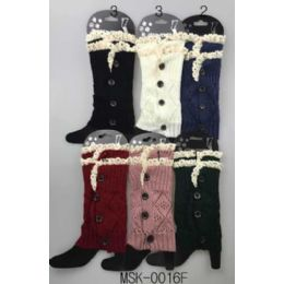 24 Bulk Knitted Boot Topper Double Lace Top With Buttons