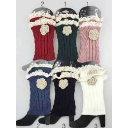 24 Bulk Knitted Boot Topper Lace Top With Lace Flower