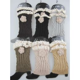 24 Bulk Boot Topper Leg Warmer With Flower Neutral Color Ast