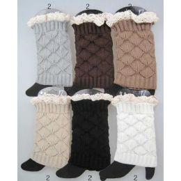 24 Bulk Interlocking Knitted Boot Toppers Leg Warmers With Lace