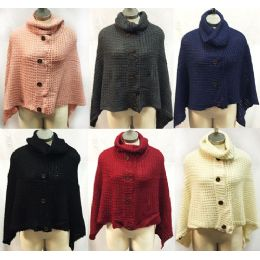 12 Bulk Knitted Cowl Collar Ponchos With Buttons Assorted
