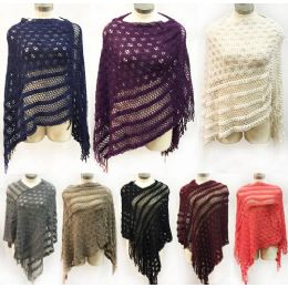 12 Bulk Knitted Multi Pattern Ponchos *assorted Colors & One Size Fits Most