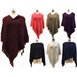 12 Bulk Knitted Extreme Soft Poncho *assorted Colors & One Size Fits Most