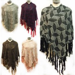12 Bulk Geometric Pattern Knitted Ponchos *assorted Colors & One Size Fits Most