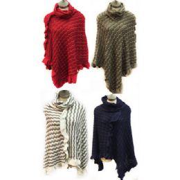 12 Bulk Knit Poncho Shawl Wave Pattern Turtle Neck Assorted