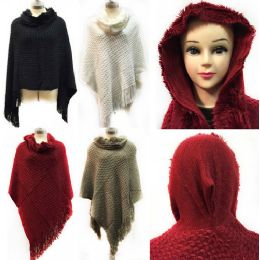 12 Bulk Knit Poncho Shawl With Furry Hood Fringes Assorted Colors Poncho
