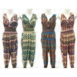 24 Bulk Assorted Tribal Print Summer Romper Jumper Suits