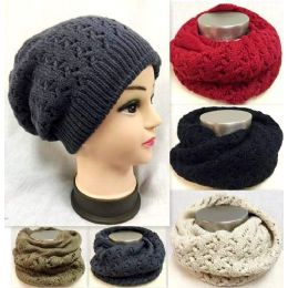 36 Bulk Dual Purpose Knitted Hat Infinity Scarf Assorted