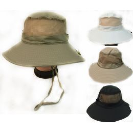 36 Bulk Solid Color Fishing Hat With Adjustable Straps Assorted Colors