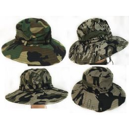 36 Bulk Camo Fishing Hat With Mesh Assorted Colors