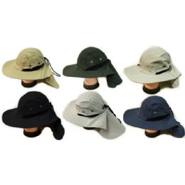 24 Bulk Summer Hunting Fishing Hat With Neck Cover Assorted