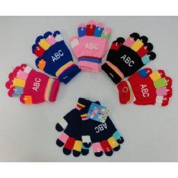 24 Bulk Kids Knitted GloveS-Abc Prints