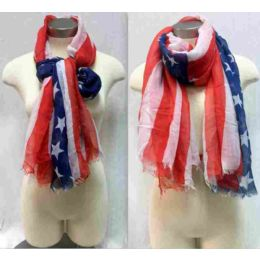 "24 Bulk American Flag Scarves One Size 72"", 100% Acrylic"