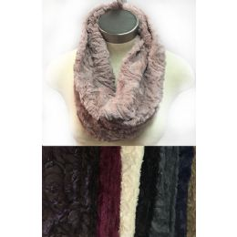 24 Bulk Faux Fur Infinity Circle Scarves Rose Pattern Assorted