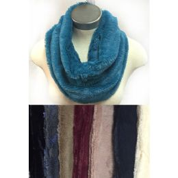 24 Bulk Faux Fur Infinity Circle Scarves Solid Color Assorted