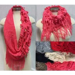 24 Bulk Double Textured Infinity Knitted Scarves