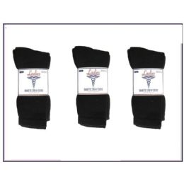 60 Bulk Ladies Diabetic Crew 3 Pair Pack -Black Size 9-11