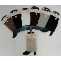 12 Bulk Knitted Boot Cuffs [1 ButtoN-Antique Lace]