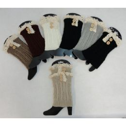 24 Bulk Knitted Boot Cuffs [2 ButtonS-Antique Lace]