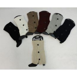 12 Bulk Knitted Boot Cuffs [3 Buttons]