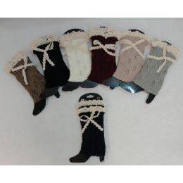 12 Bulk Knitted Boot Cuffs [antique Lace Bow]