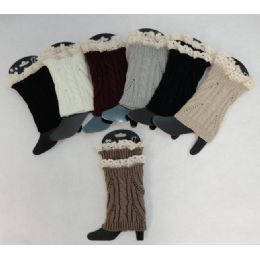 12 Bulk Knitted Boot Cuffs [cable Knit/antique Lace]