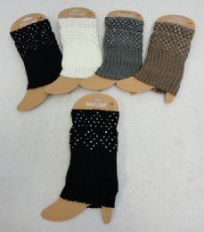 12 Bulk Knitted Boot Cuffs [rhinestones]