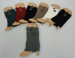 12 Bulk Knitted Boot Cuffs With Large Button