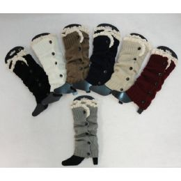 24 Bulk Antique Lace Knitted Long Boot Cuffs