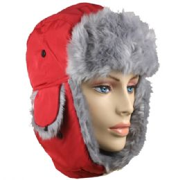 36 Bulk Red Winter Pilot Hat With Faux Fur Lining And Strap