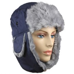 36 Bulk Blue Winter Pilot Hat With Faux Fur Lining And Strap
