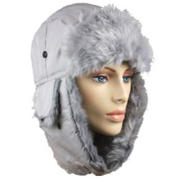 36 Bulk Grey Winter Pilot Hat With Faux Fur Lining And Strap