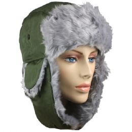 36 Bulk Green Winter Pilot Hat With Faux Fur Lining And Strap