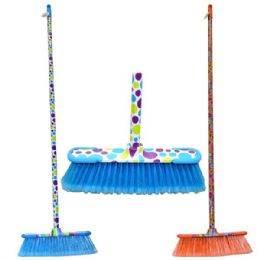 24 Bulk Broom Printed Design Sticks Hd W/rubber Bumpers