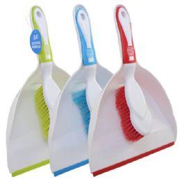 48 Bulk Dust Pan W/ Brush Asst Colors