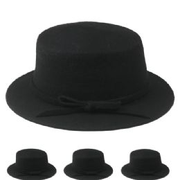 24 Bulk Womens Stylish Warm Winter Hat In Black With Bow