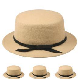 24 Bulk Womens Stylish Warm Winter Hat In Beige With Black Bow