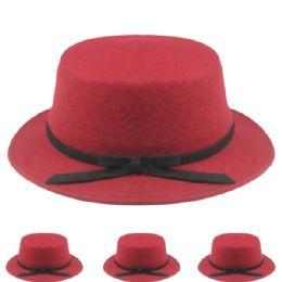 24 Bulk Womens Stylish Warm Winter Hat In Maroon With Black Bow