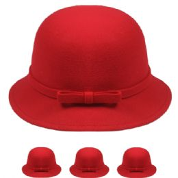 24 Bulk Womans Stylish Warm Winter Hat With Bow In Red